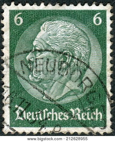 GERMANY - CIRCA 1934: Postage stamp printed in Germany (German Reich) shows the 2nd President of Germany Paul von Hindenburg circa 1934