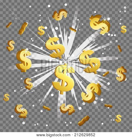 Golden dollar sign light beam lens flare explosion. Flying cash money, blindening explosion burst with sparkles. Achievement winner bonus illustration.