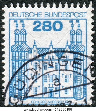 GERMANY - CIRCA 1982: Postage stamp printed in Germany shows Ahrensburg Castle circa 1982
