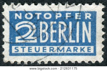 GERMANY - CIRCA 1948: Postage Tax Stamp printed in Germany (West Berlin) Berlin emergency levy (Notopfer Berlin) Issue shows face value circa 1948
