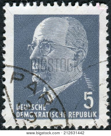 GERMANY - CIRCA 1961: Postage stamp printed in Germany (GDR) shows a German Communist politician and statesman Walter Ulbricht circa 1961