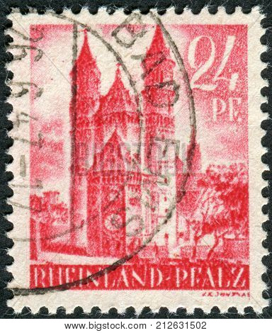 GERMANY - CIRCA 1947: Postage stamp printed in Germany (Rhineland-Palatinate French occupation zone) shown Worms Cathedral (Cathedral of St. Peter) circa 1947