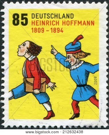 GERMANY - CIRCA 2009: A stamp printed in Germany, is dedicated to the 200th anniversary of Heinrich Hoffmann, depicts a scene from a children's book Struwwelpeter, circa 2009