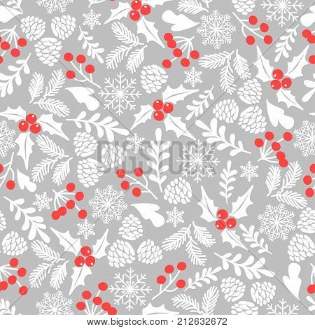 Winter seamless vector pattern with holly berries. Part of Christmas backgrounds collection. Can be used for  pattern fills, surface textures,  fabric prints.