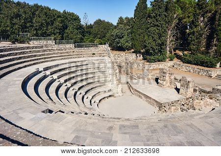 The ruins of the ancient theater in Kos in Greece
