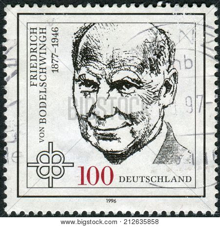 GERMANY - CIRCA 1996: Postage stamp printed in Germany shows portrait of Friedrich von Bodelschwingh Protestant Theologian circa 1996