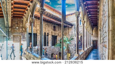 Inner Courtyard And Cloister Of Museu Picasso, Barcelona, Catalonia, Spain