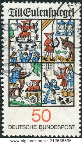 GERMANY - CIRCA 1977: Postage stamp printed in Germany shows the Scenes from Till Eulenspiegel circa 1977