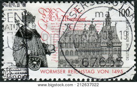 GERMANY - CIRCA 1995: Postage stamp printed in Germany dedicated to the 500th anniversary of the Diet of Worms circa 1995