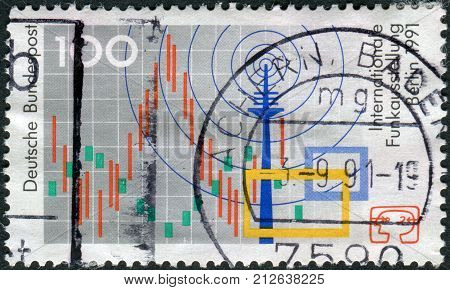 GERMANY - CIRCA 1991: Postage stamp printed in Germany dedicated to the International radio exhibition Berlin shows the symbol of the exhibition radio tower television circa 1991
