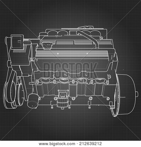 Powerful V8 car engine. The engine is drawn with white lines on a black sheet in a cage.
