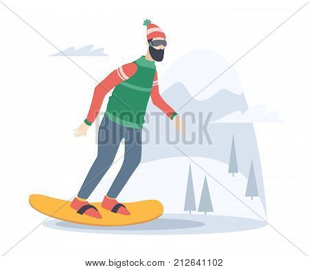 Young man snowboarding on the background of snow capped mountain. Snowboarder on piste in mountains. Vector flat design illustration.