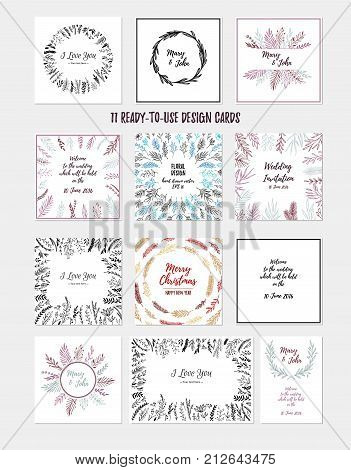 Hand sketched vector vintage illustrations. Ready to use cards with laurels frames leaves flowers. Wild and free. Perfect for invitations greeting cards quotes Wedding Frames posters and more