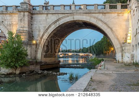 ROME, ITALY - JUNE 22, 2017: Amazing Sunset view of Tiber River in city of Rome, Italy