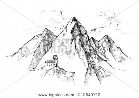Hand drawn illustration - mountain peaks with lonly house. Outdoor camping background in sketch style. Landscape.