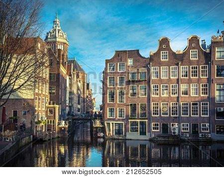 Old Canal Houses Armbrug Amsterdam Retro Look