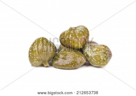 Marinated capers isolated on white background. Canned capers.