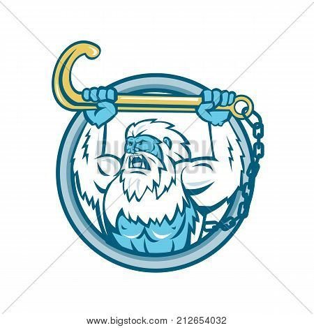Retro style illustration of a muscular yeti or Abominable Snowman an ape-like entity lifting or holding up a j hook or tow hook set inside circle on isolated background.