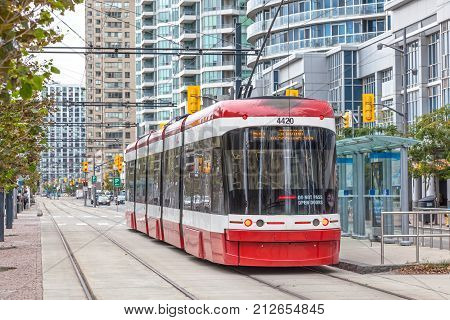 Toronto Canada - Oct 11 2017: Modern streetcar at the Harbourfront in the city of Toronto. Province of Ontario Canada