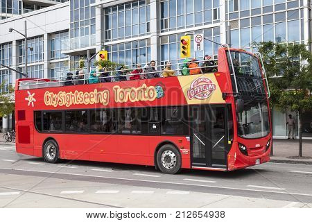 Toronto Canada - Oct 11 2017: Red City Sightseeing bus in the city of Toronto. Province of Ontario Canada