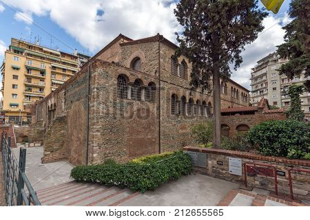 THESSALONIKI, GREECE - SEPTEMBER 30, 2017: Ancient Byzantine Church of the Acheiropoietos in the center of city of Thessaloniki, Central Macedonia, Greece