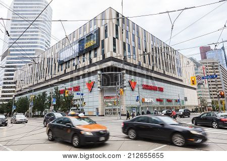 Toronto Canada - Oct 11 2017: The Canadian Tire store at the Dundas Street downtown in Toronto. Province of Ontario Canada