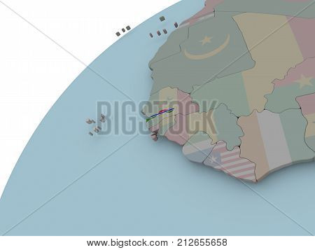 Map Of Gambia With Flag