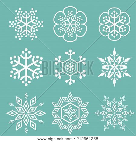 Vector snowflakes simple set white on blue