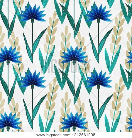 Seamless pattern with decorative flowers and wheat