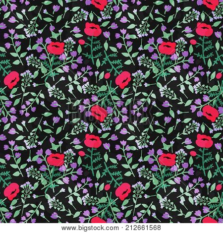 Seamless pattern with decorative pink and violet flowers