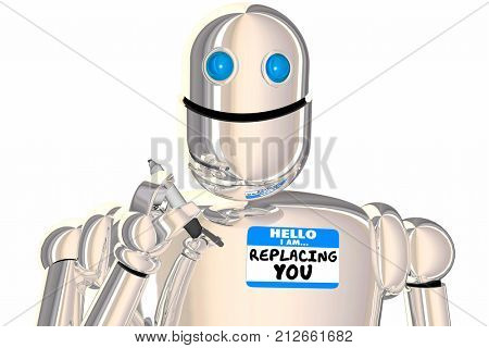 Replacement Worker Robot Name Tag Displaced Employee 3d Illustration