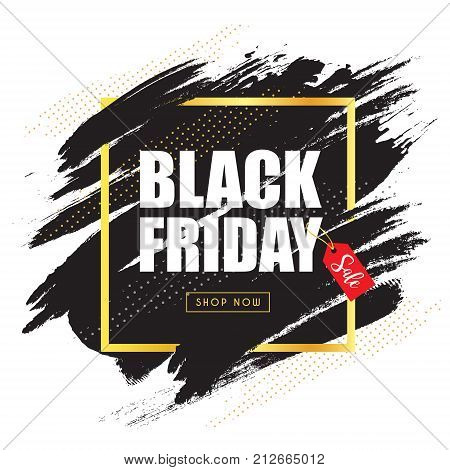 Black friday sale template design with modern abstract black background. Vector illustration. Paint brush texture background.