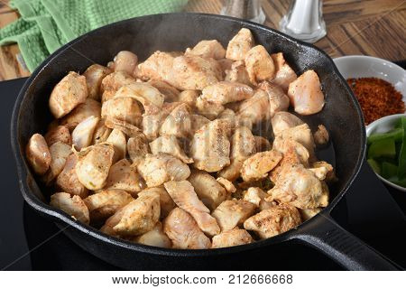 Frying Cubed Chicken Breasts