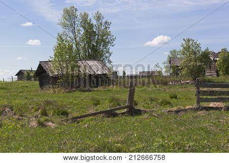 Rustic courtyard of the Russian north in the summer