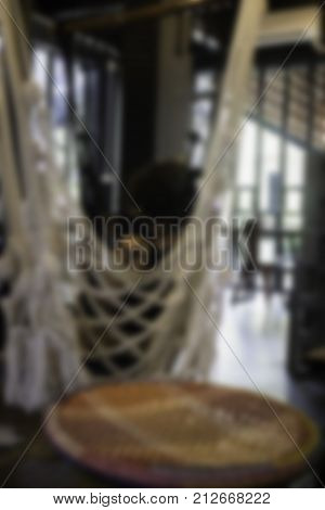 Blurred vintage living room of boutique hotel stock photo