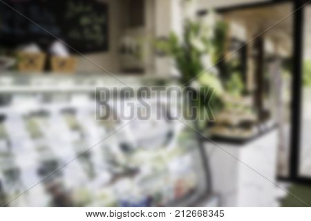 Blurred background of bakery shop stock photo