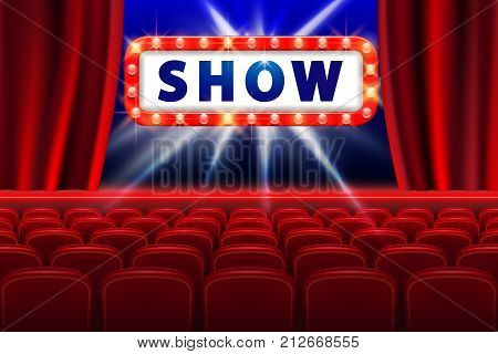 Cinema show design with lights scene and red seats. Poster for concert, party, theater. Theater Poster Template with Lights. vector illustration EPS 10