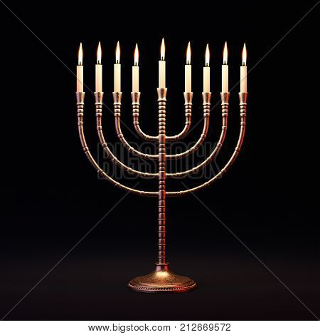 Hanukkah menorah with burning candles on dark background. Traditional jewish holiday celebration greeting card concept. 3D illustration