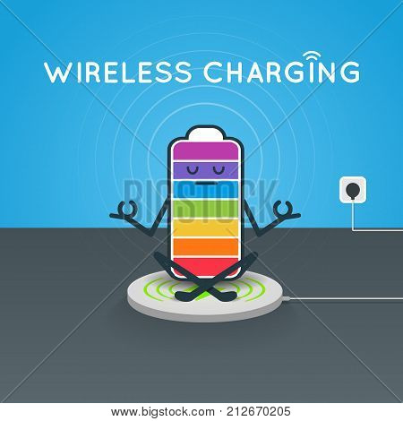 The battery in the Lotus position on the wireless charger cartoon vector illustration. The cell level of charge in the seven colors of the chakras
