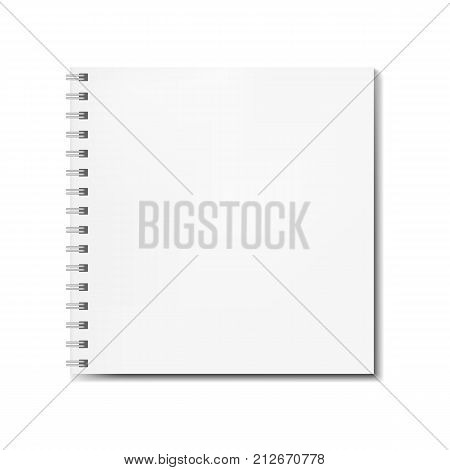 Realistic square spiral notebook mockup sketchbook blank cover. Clear notepad front page or clean page with shadow