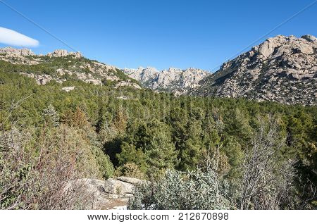 Views of La Pedriza from Canto Cochino, in Guadarrama Mountains National Park, Madrid, Spain. In the background can be seen The Cancho de los Muertos (Peak of the deads) El Pajaro (Bird Peak) Las Buitreras (Vulture Peak) and Sirio Peak