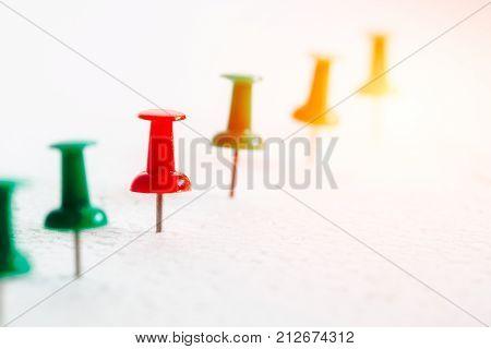 row of pin board for Milestone concept