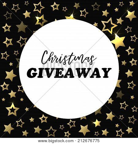 Christmas giveaway banner. Vector card for social media, blogs
