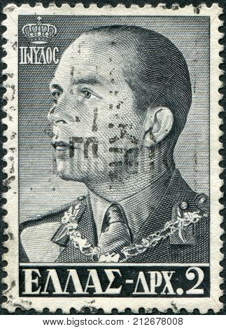 GREECE - CIRCA 1956: Postage stamps printed in Greece shows King Paul I circa 1956