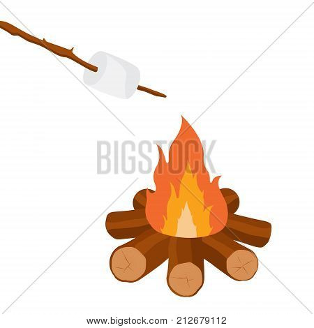 Vector illustration marshmallow on wooden stick roasting on campfire. Bonfire with marshmallow