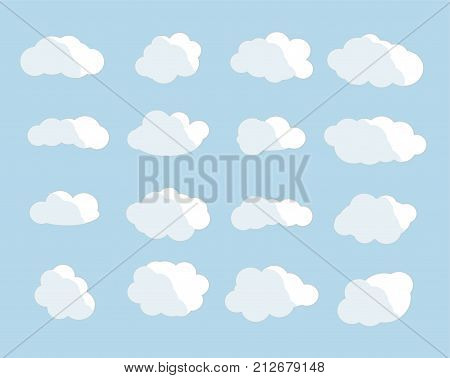 Cloud vector icon set white color on blue background. Sky flat illustration collection for web art and app design. Different nature cloudscape weather symbols.