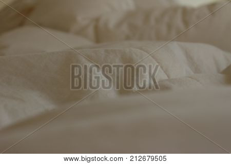 Abstract Whit cozy duvet close up background