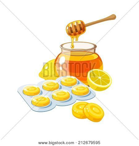 Cough drops. Sore throat remedy package of yellow lozenges lemon and honey. Vector illustration cartoon flat icon isolated on white.