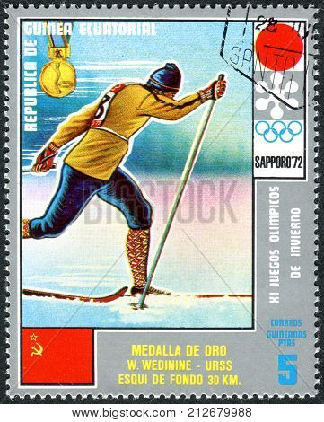 EQUATORIAL GUINEA - CIRCA 1972: A stamp printed in Equatorial Guinea shows the Vyacheslav Petrovich Vedenin - Medalists of the Winter Olympics 1972 Sapporo circa 1972