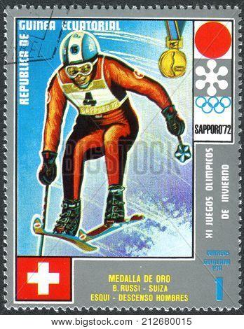 EQUATORIAL GUINEA - CIRCA 1972: A stamp printed in Equatorial Guinea shows the Bernhard Russi - Medalists of the Winter Olympics 1972 Sapporo circa 1972